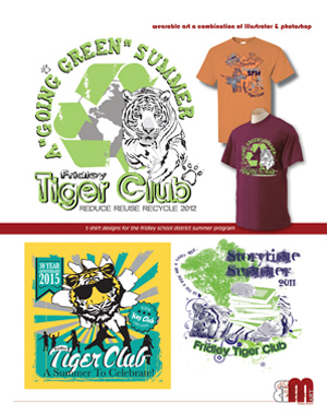 Samples of t-shirt designs done for Fridley Tiger Club